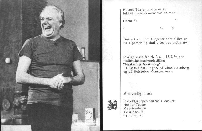 """Volantino di """"Storia di una tigre e altre storie"""" di e con Dario Fo, incluso nel programma della rassegna """"La Commedia dell`Arte nelle maschere di Sartori"""", svoltasi a Copenhagen, Danimarca, 1984."""